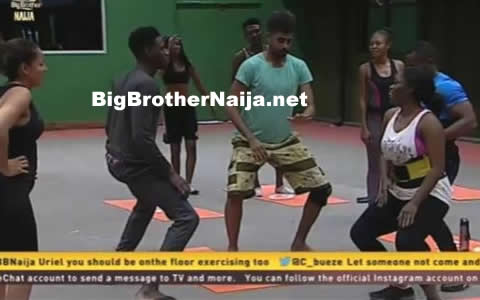 Big Brother Naija 2017 Day 3: Uriel Oputa Leads Housemates During Their Morning Workout