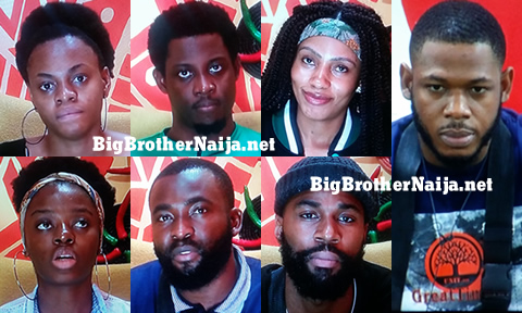 Big Brother Naija 2019 Week 8 Nominatted Housemates, Mike, Seyi, Gedoni, Frodd, Esther, Mercy and Diane