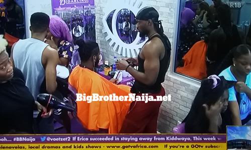 Big Brother Naija 2020 Housemates styling their hair in the Darling saloon