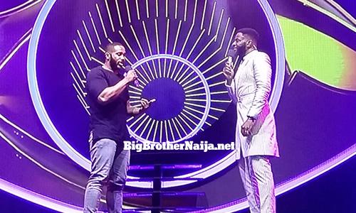 Terseer Kiddwaya speaking to Big Brother Naija Season 5 host Ebuka Obi-Uchendu shortly after his eviction