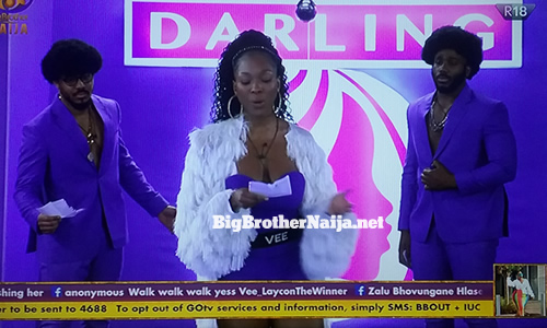 Team Empress of Kiddwaya, Vee and Ozo in the Darling Find your beautiful task