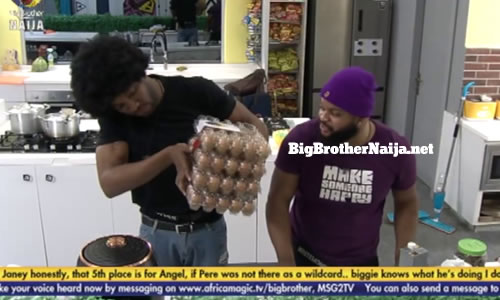Cross, Whitemoney and Emmanuel discover evicted Housemates groceries