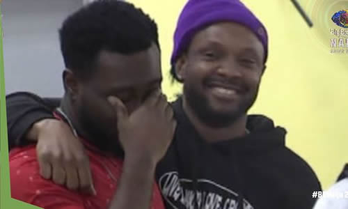 Pere crying for surviving being nominated in Big Brother Naija 2021 (Season 6) Week 8