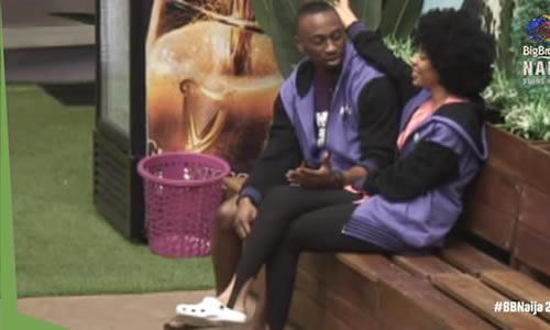Saga motivating Nini after the Big Brother Naija 2021 (Season 6) week 8 Nominations