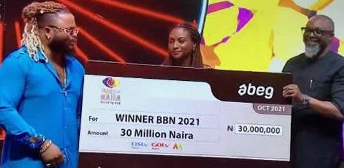 Whitemoney receives his Big Brother Naija 2021 (Season 6) 'Shine Ya Eye' Winner's Prizes